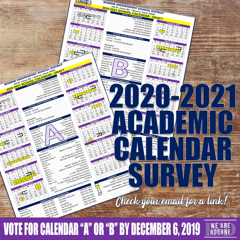 Voting for the 2020-2021 BISD Academic Calendar Open Now!